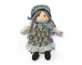 Vintage 1993 Holly Hobbie Doll 14 Inch Collectible Doll by Meritus Cloth Doll Fabric Doll Rag Doll Prairie Doll Holly Hobby Doll with Bonnet