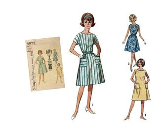 Vintage Misses Retro Dress Pattern Misses Size Medium 14-16 Mod Jiffy Simplicity 4977 Sewing Pattern Simple To Make A Shaped Dress Easy Sew