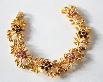Vintage crystal bracelet.  Pink and red crystal bracelet.  Leaf bracelet.  Vintage jewellery