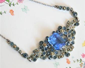Art Deco necklace. Vintage blue glass and marcasite necklace. Vintage jewellery. Vintage necklace