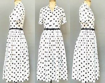 40% OFF SALE - Vintage 1950's Black & White Polka Dot Dress