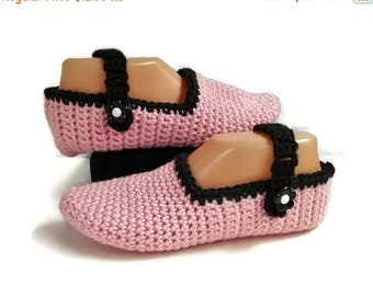 SALE Pink Crochet Slippers, Mary Jane Style With Adjustable Strap, Handmade Knitted Slippers, Gift for Women, Pink and Black Slippers