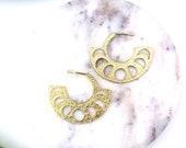 Moon phase earrings// Hammered gold moon earrings// bobo chic moon earring//gold stud moon phase earrings// gold hoop earrings//The Anyan