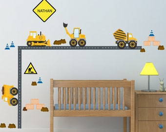 Kids Wall Decals, Construction Trucks Wall Decal,  Nursery Wall Decal, Reusable Decal Non-toxic Fabric Wall Decals for Kids, WD49