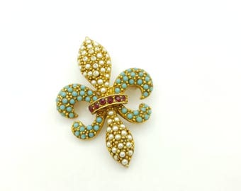 Art Signed Fleur De Lis Brooch Seed Pearls Ruby Red rhinestones and small blue cabochons
