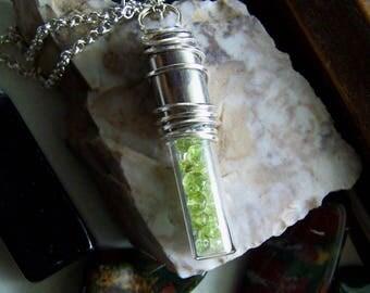 Green Peridot Natural Gemstones Glass Capsule Silver Bullet Pendant