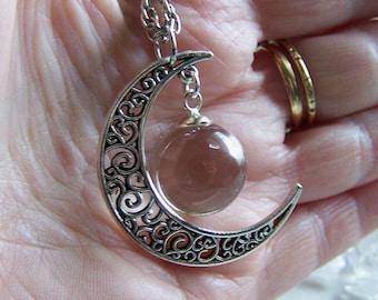 Silver Filigree Crescent Moon Quartz Crystal Ball Pendant