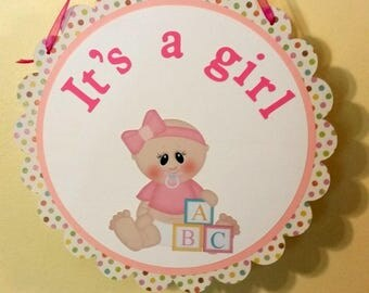 Baby girl door hanger, new baby door sign, Baby girl welcome door sign, ready to ship door sign