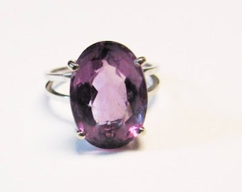 On Sale Vintage Estate Beautiful 14K White Gold  5.81 ct Amethyst Ring