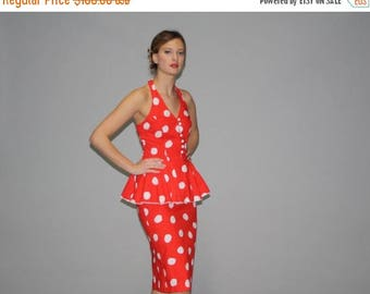 On SALE 35% Off - 1980s Does 1940s Red and White Polka Dot Peplum Pinup Rockabilly Wiggle Dress - Vintage Polka Dot Dress - Vintage Wiggle D
