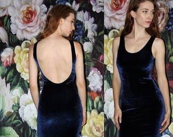On SALE 35% Off - 1990s Vintage Blue Velvet Low Back Boydcon 90s Party Dress - 90s Body Con Dress - Vintage nineties Dresses   - WV0430