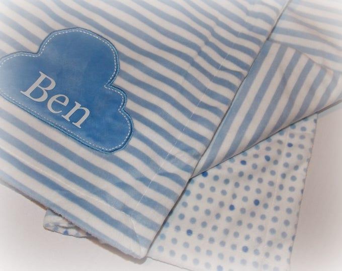 Baby boy personalized blanket - blue blanket - blue cloud - polka dots - Baby shower gift - blanket - personalized gift - minky girl blanket
