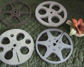 "4 Vintage 5"" Metal 8mm Movie Reels Kodak Kodascope Universal Camera"