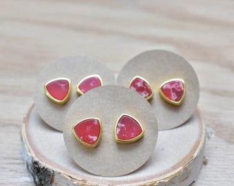 20% EARRING STUD SALE Red Triangle Sea Sediment Bezel Stud Earrings/ Gold Stud Post Earrings Natural Bright Red/ Sea Sediment Stone (Gsl11-R