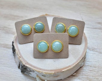 20% EARRING STUD SALE Gold Round Aventurine Bezel 12mm Stud Earrings/ Green Aventurine Large Round Cabochon Gold Studs/ Natural Gemstone Min