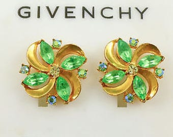 Vintage GIVENCHY Peridot Green Earrings On Card With Tag - Light Green And Aqua Crystal Post Earrings