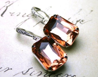 ON SALE Peach Emerald Cut Vintage Jeweled Earrings - Sterling Silver and CZ Accented  Earwires - Peach Brandy Crystal Earrings