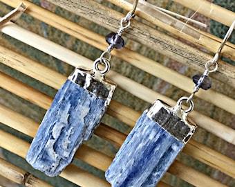 Hand Made Kyanite Drop Earrings, Gemstone Earrings