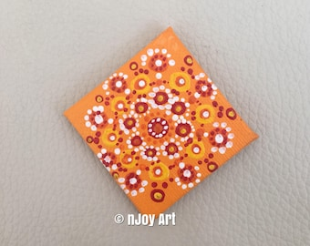 Orange mandala art magnet, 2 inch original painting, kitchen decor, mini art