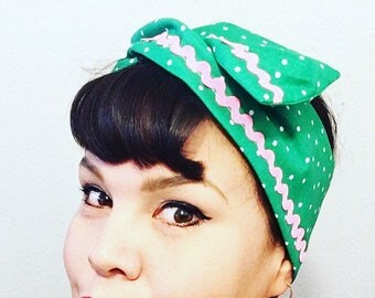 Retro Wire Headscarf Green Polka Dots and Rick Rack