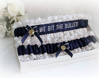 Personalized Hunting Wedding Garter Set - We Bit the Bullet Garters - Shotgun Garter set - Bridal Shower Gift - Something Blue Garter Set.