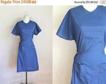 20% off SALE vintage nurse uniform - SCRUBS blue wrap uniform dress / S