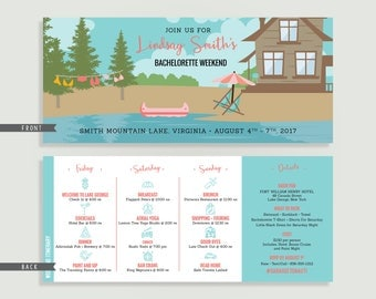 Lake Bachelorette Invitation with Itinerary - Personalized Printable File or Print Package - Lakehouse Bachelorette #00086-PI10