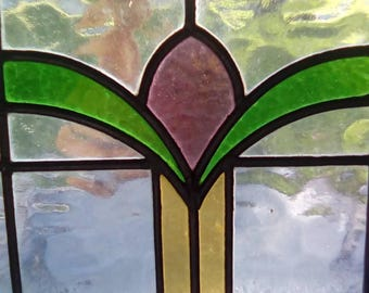 Vintage antique stained glass window panel leaded glass. Original glass, perfect condition, new wooden frame, ready to hang,red,green,clear