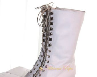 Wedding Victorian Boots Ivory Victorian Boots Ankle Booties Edwardian Boots White leather Victorian Boots Stage boots