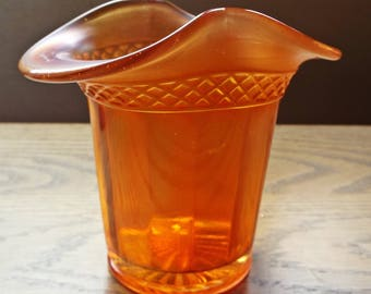 Marigold Colored Carnival Glass Top Hat