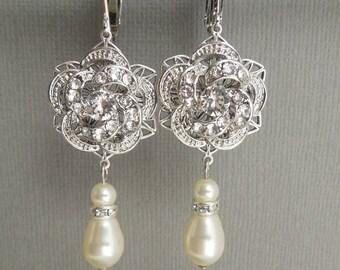 clip on earrings Pearl bridal earrings clip on bridal earrings rhinestone earrings chandelier bridal earrings statement earrings ROSELANI