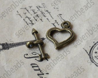 12 sets Antique bronze heart Toggle Clasp,Necklace Clasp Findings,Bracelet Clasp Findings,Clasp Charms,Clasp Findings