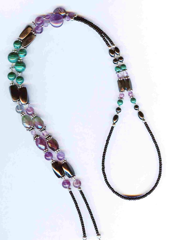 Malachite, Rainbow Flourite & Hematite Genuine Gemstone Beaded  ID Badge Lanyard or Eyeglass Chain