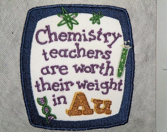 "Chemistry Teachers Iron on Patch-4.15""x 4.65"""
