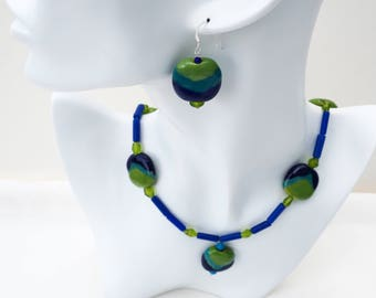 Blue, Green Kazuri Necklace, 21 inches