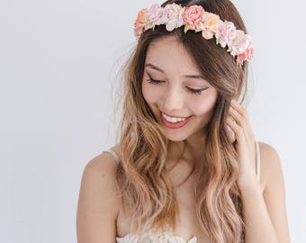 peach pink flower crown // bright pink flower crown / bright happy flower headband / spring flower crown / summer flower crown