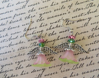Pink And Green Lucite Beaded Garden Angel Earrings