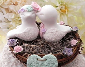 Rustic Love Bird Wedding Cake Topper - White, Pink, Lilac and Mint Green, Love Birds in Nest - Personalized Heart