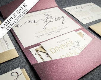 modern wedding invitations purple wedding invitation set calligraphy wedding invitation custom modern - Modern Wedding Invitations