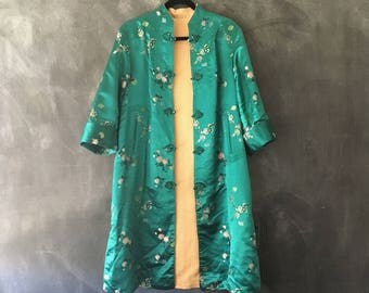 Silk Brocade Mandarin Jacket Reversible Chinese Embroidered Satin Teal Gold Robe Duster Jacket Ladies Size M