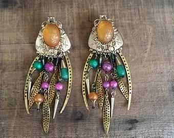 SALE 80s 90s Statement Clip On Earrings Chandeliers Wearable Art Abstract Avant Garde Lightweight Large Earrings