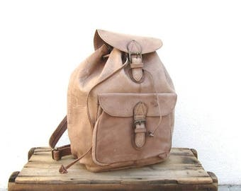 20% Off Sale Leather Rucksack Backpack Large Light Brown 80s Daypack