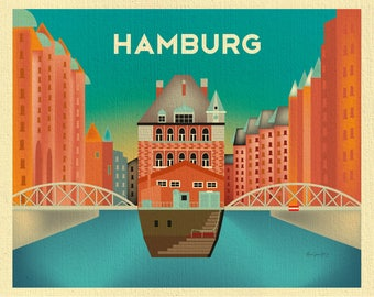 Hamburg Print, Hamburg skyline, Hamburg art, Hamburg Germany art, Hamburg Canvas, Hamburg Poster, Hamburg Germany art style E8-O-HAM