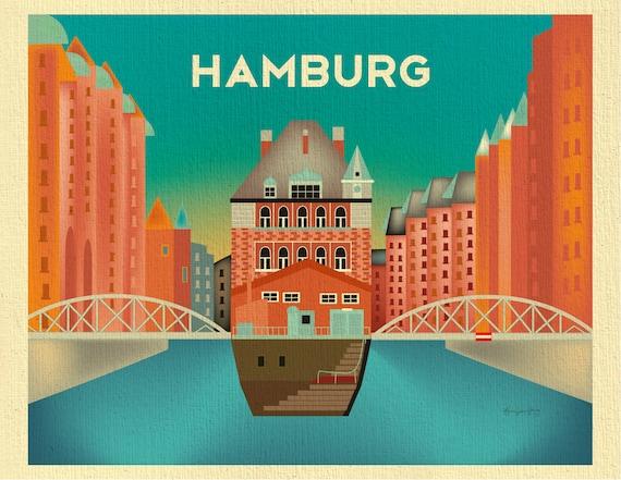 hamburg print hamburg skyline hamburg art hamburg germany. Black Bedroom Furniture Sets. Home Design Ideas