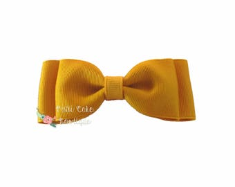 Mustard Gold Double Stacked Hair Bow/Basic Hair Bow/School Uniform Hair bow/Gold Hairbows/Pigtail Hair Bows for Girls/Thanksgiving Barrette