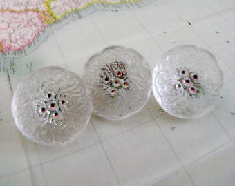 Clear Lacy Glass Buttons Iridescent