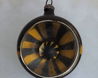 "On Sale Antique German ornament glass ornament headlight indent ornament pinwheel reflector dark bronze ""black"" and yellow hand painted"