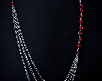 Christmas red necklace layered chain necklace with Swarovski siam red crystals holiday necklace- aNella Designs