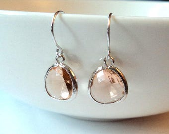Gift Peach earrings Champagne earrings Blush earrings Silver earrings Dangle earrings Drop earrings Bridesmaid earrings Bridal earrings Gift