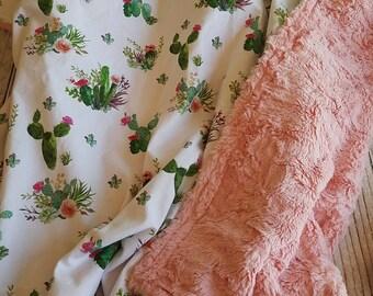 Baby Blanket - Minky Blanket - Girls Baby Blanket - Cactus Blanket - Pink Baby Blanket -  Succulent Crib Blanket - Baby Shower Gift